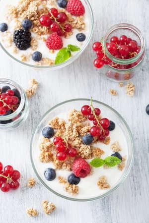 oatmeal: healthy breakfast with yogurt and granola