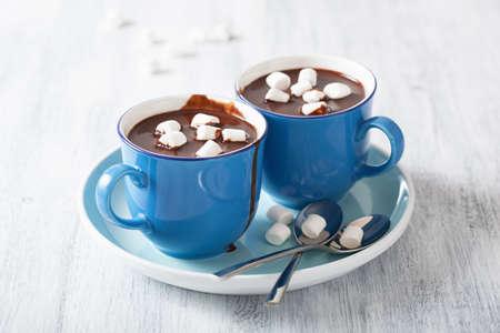 chocolate caliente: chocolate caliente con malvaviscos pequeños Foto de archivo