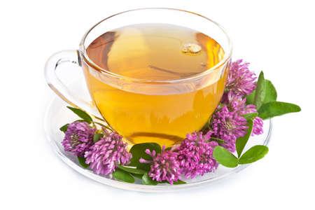 tannin: herbal tea and clover flowers over white