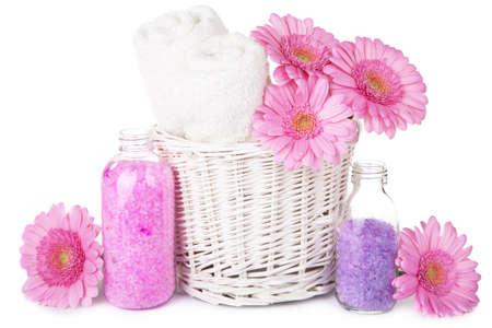 bath and spa set with flowers isolated  Фото со стока