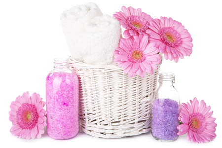 bath and spa set with flowers isolated  photo