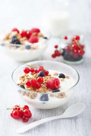 egészséges reggeli a joghurt és müzli Stock fotó
