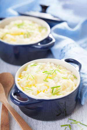 mashed potatoes in small pots  photo