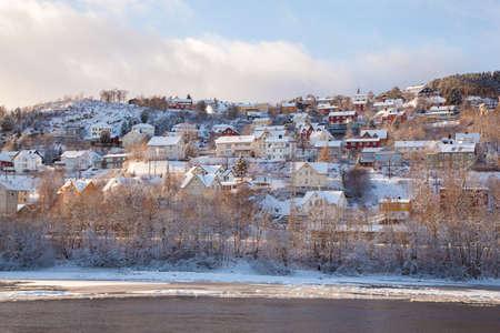 scandinavian landscape: Winter view of houses in Trondheim city Norway