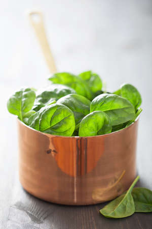 'baby spinach': baby spinach leaves in copper pot