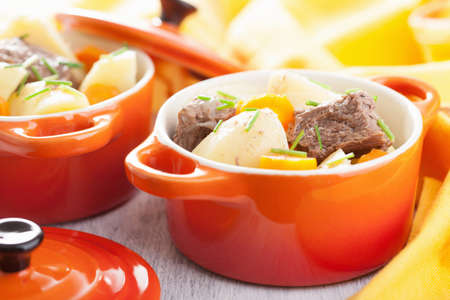 casserole: beef stew with potato and carrot  Stock Photo