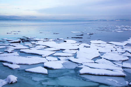 floe: ice floe in winter Norway Stock Photo