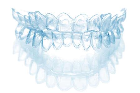 egyes foga tálca fehérítésére elszigetelt Stock fotó