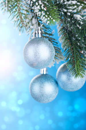 silver balls: Christmas decoration over blue background