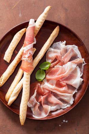 grissini: prosciutto ham and grissini bread sticks