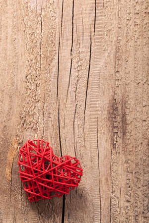 red heart over wooden background for Valentines  photo
