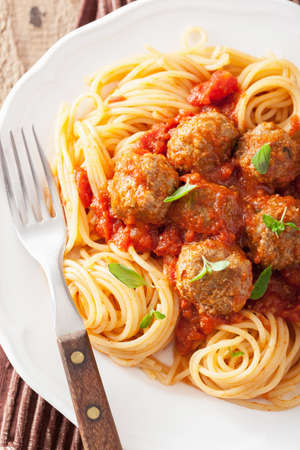 spaghetti with meatballs in tomato sauce  photo