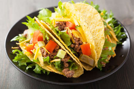 tex: mexican taco shells with beef and vegetables