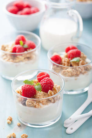 healthy breakfast with yogurt granola and raspberry  photo