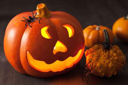 jack o lantern: Halloween Jack O Lantern pumpkin spiders Stock Photo