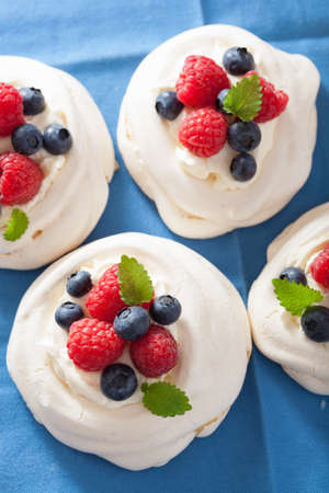 pavlova meringue cake with cream and berry photo