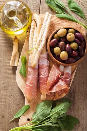 grissini: italian prosciutto ham grissini bread sticks olive oil