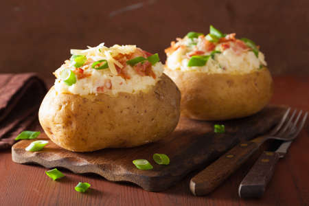 baked potato: baked potato in jacket with bacon and cheese