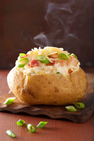 baked: baked potato in jacket with bacon and cheese