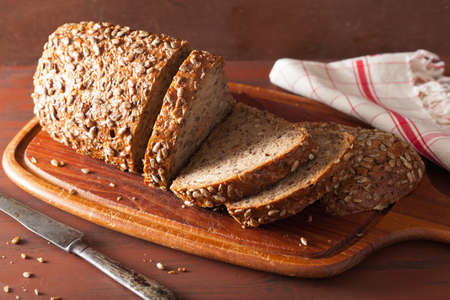 healthy whole grain bread with carrot and seeds Stock Photo