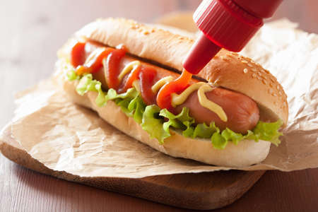 hot dog with ketchup mustard and lettuce
