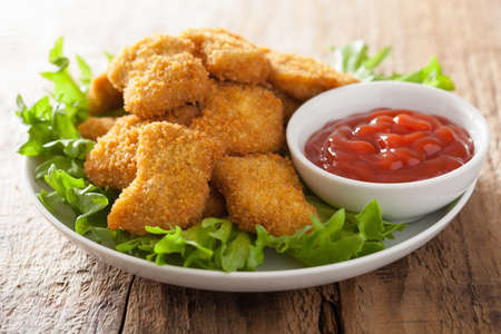 chicken salad: chicken nuggets with ketchup