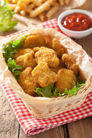 chicken nuggets with ketchup and french fries Stockfoto
