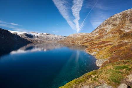 scandinavian landscape: Norwegian mountain autumn landscape with lake