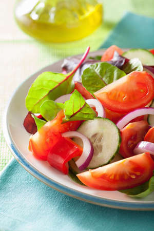 gourmet kitchen: healthy tomato salad with onion cucumber pepper Stock Photo