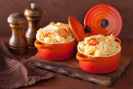 macaroni with cheese: baked macaroni with cheese in orange casserole