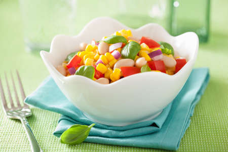 corn salad: healthy corn salad with tomato onion white bean basil