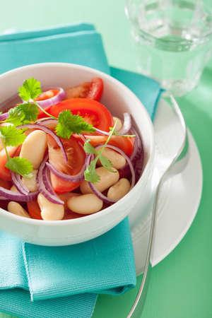 gourmet kitchen: healthy tomato salad with white beans onion coriander