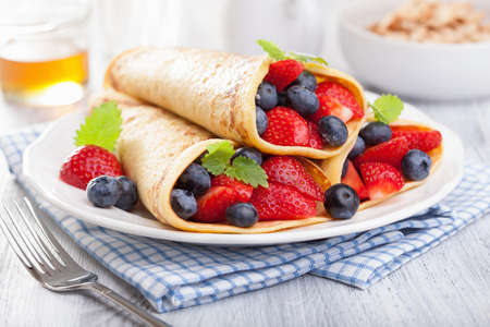 pancakes with strawberry blueberry