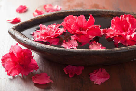 bowls: azalea flowers in bowl for aromatherapy spa Stock Photo