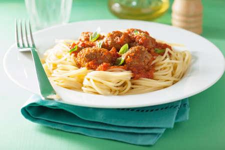 pasta dish: spaghetti with meatballs in tomato sauce