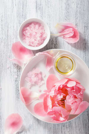 pink flower, salt, peony, essential oil for spa and aromatherapy