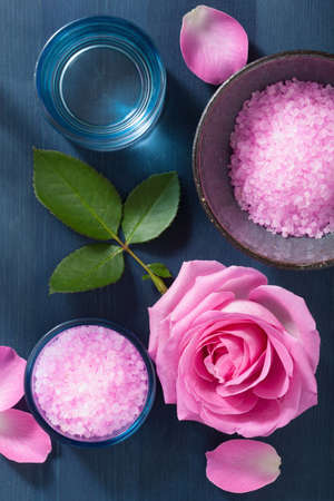 dark blue: rose flower herbal salt for spa and aromatherapy