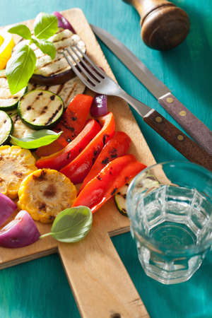 grilled vegetables: healthy grilled vegetables on chopping board