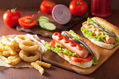 hotdog: hotdog with ketchup mustard vegetables and french fries Stock Photo