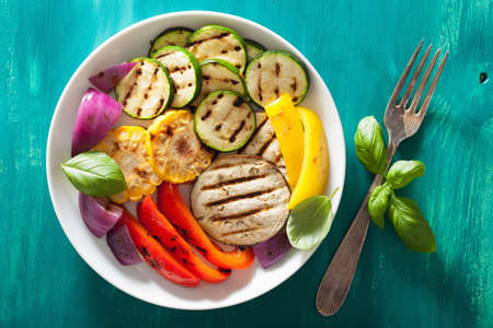 grilled vegetables: healthy grilled vegetables on plate Stock Photo