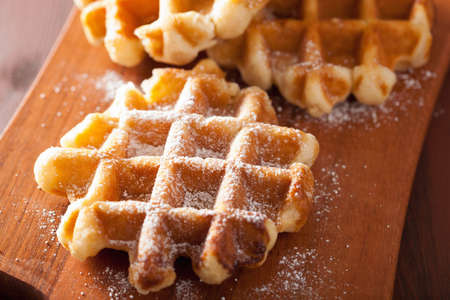 belgian waffles with icing sugar Standard-Bild