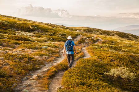 hiking: hiker with backpack traveling in Norway mountains Dovre