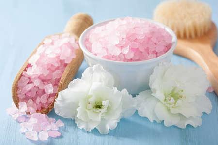 spa beauty: spa aromatherapy set with azalea flowers and herbal salt