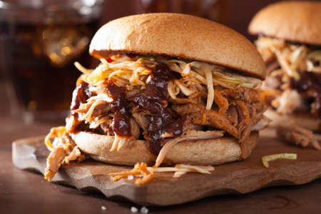 homemade pulled pork burger with coleslaw and bbq sauce Stok Fotoğraf - 45724090