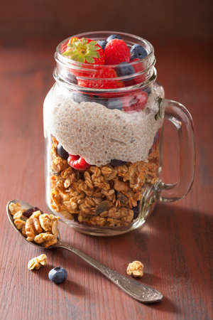 strawberry: homemade granola and chia seed pudding with berry healthy breakfast