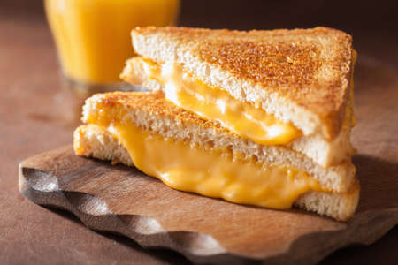 homemade grilled cheese sandwich for breakfast Banco de Imagens