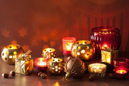 mystical: burning christmas lanterns and decoration lights background Stock Photo