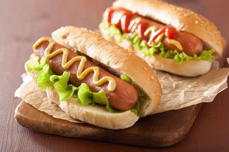 hotdog: hot dog with ketchup mustard and vegetables