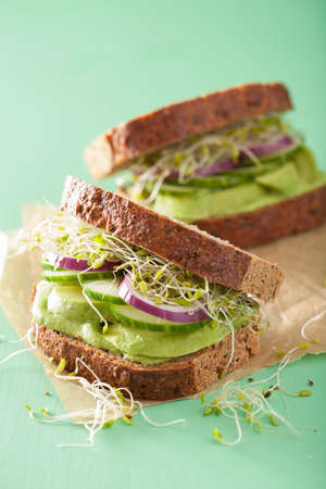 food dressing: healthy avocado sandwich with cucumber alfalfa sprouts onion Stock Photo