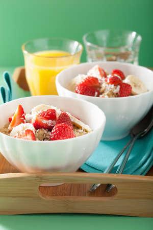 healthy breakfast: healthy breakfast quinoa with strawberry banana coconut flakes